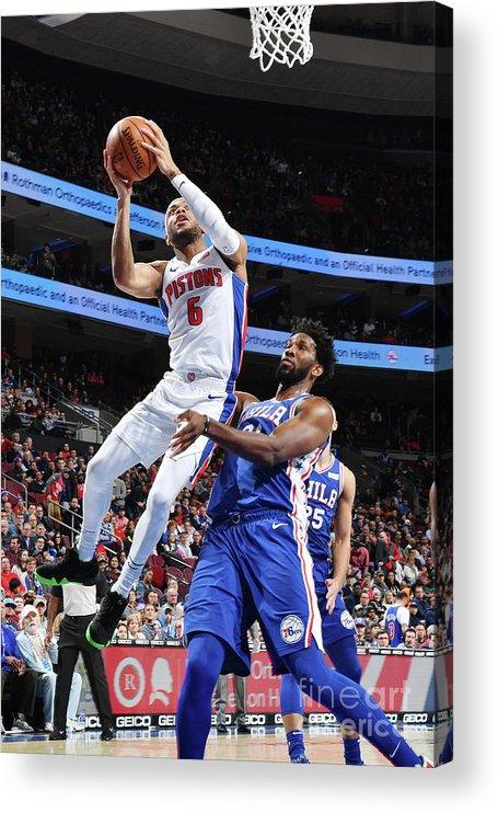 Nba Pro Basketball Acrylic Print featuring the photograph Detroit Pistons V Philadelphia 76ers by Jesse D. Garrabrant