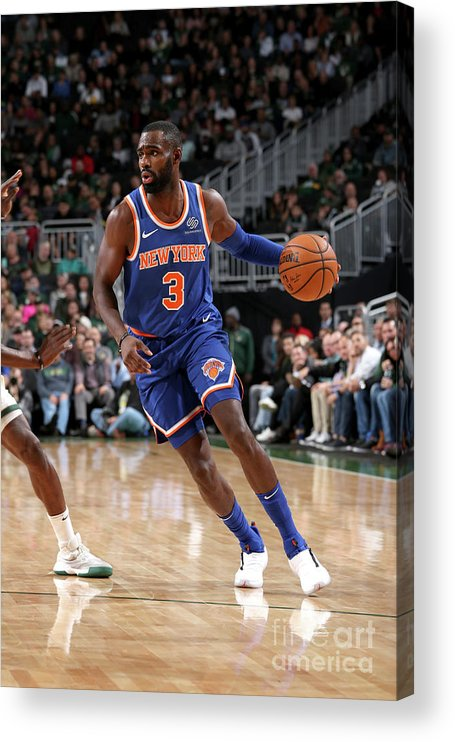 Tim Hardaway Jr. Acrylic Print featuring the photograph New York Knicks V Milwaukee Bucks by Gary Dineen