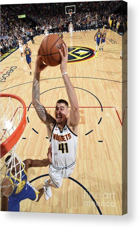 Nba Pro Basketball Acrylic Print featuring the photograph Golden State Warriors V Denver Nuggets by Garrett Ellwood