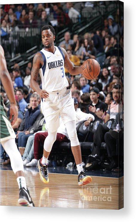 Nba Pro Basketball Acrylic Print featuring the photograph Milwaukee Bucks V Dallas Mavericks by Glenn James