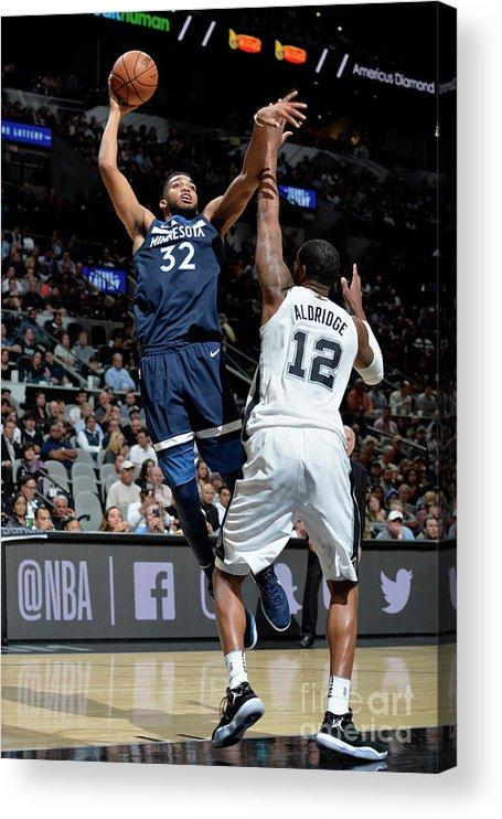Nba Pro Basketball Acrylic Print featuring the photograph Minnesota Timberwolves V San Antonio by Mark Sobhani