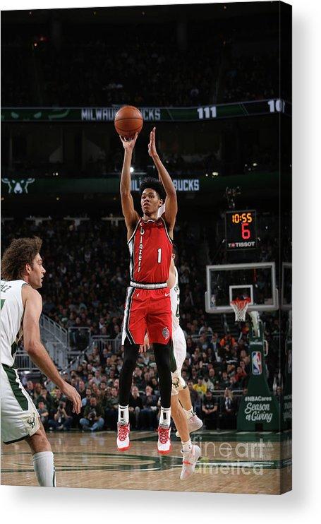 Nba Pro Basketball Acrylic Print featuring the photograph Portland Trail Blazers V Milwaukee Bucks by Gary Dineen