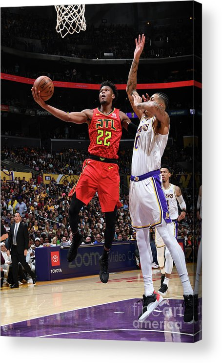 Nba Pro Basketball Acrylic Print featuring the photograph Atlanta Hawks V Los Angeles Lakers by Andrew D. Bernstein