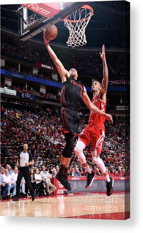 Nba Pro Basketball Acrylic Print featuring the photograph Portland Trail Blazers V Houston Rockets by Bill Baptist
