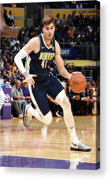Nba Pro Basketball Acrylic Print featuring the photograph Denver Nuggets V Los Angeles Lakers by Andrew D. Bernstein