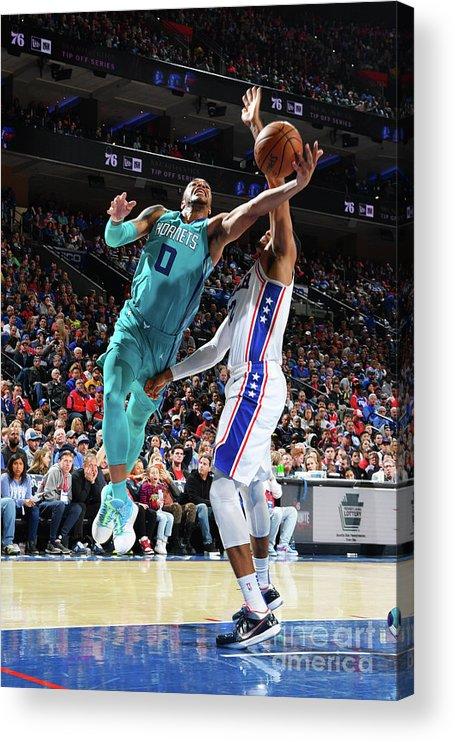 Nba Pro Basketball Acrylic Print featuring the photograph Charlotte Hornets V Philadelphia 76ers by Jesse D. Garrabrant