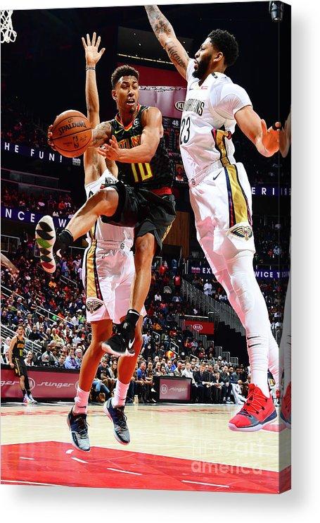 Atlanta Acrylic Print featuring the photograph New Orleans Pelicans V Atlanta Hawks by Scott Cunningham