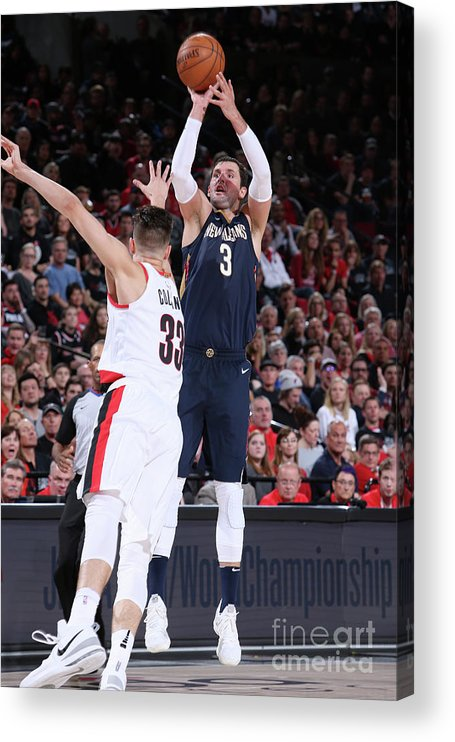 Playoffs Acrylic Print featuring the photograph New Orleans Pelicans V Portland Trail by Sam Forencich