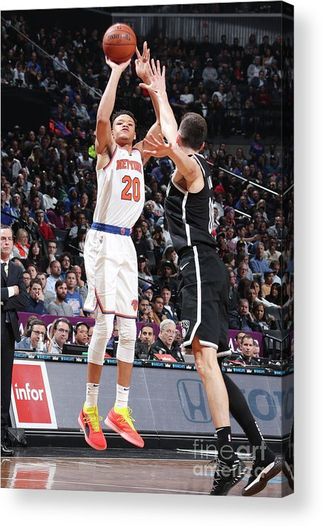Nba Pro Basketball Acrylic Print featuring the photograph New York Knicks V Brooklyn Nets by Nathaniel S. Butler