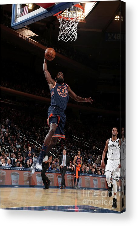 Tim Hardaway Jr. Acrylic Print featuring the photograph Brooklyn Nets V New York Knicks by Nathaniel S. Butler