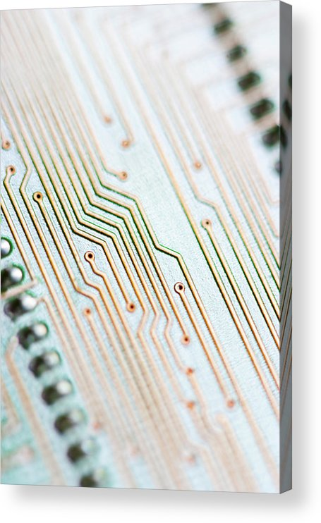 Electrical Component Acrylic Print featuring the photograph Close-up Of A Circuit Board by Nicholas Rigg