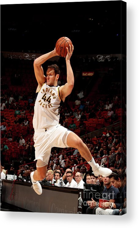 Nba Pro Basketball Acrylic Print featuring the photograph Indiana Pacers V Miami Heat by Issac Baldizon