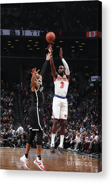Tim Hardaway Jr. Acrylic Print featuring the photograph New York Knicks V Brooklyn Nets by Nathaniel S. Butler