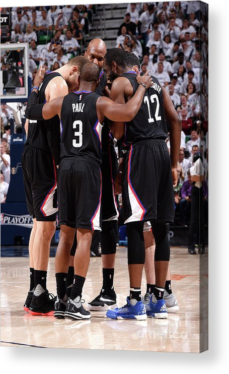 Playoffs Acrylic Print featuring the photograph Los Angeles Clippers V Utah Jazz - Game by Andrew D. Bernstein