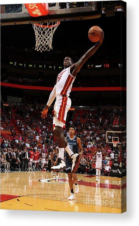 Nba Pro Basketball Acrylic Print featuring the photograph Memphis Grizzlies V Miami Heat by Oscar Baldizon
