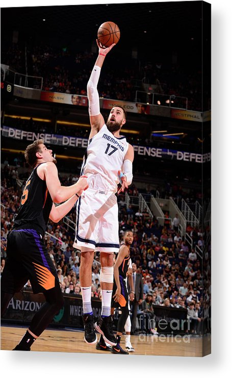 Nba Pro Basketball Acrylic Print featuring the photograph Memphis Grizzlies V Phoenix Suns by Barry Gossage