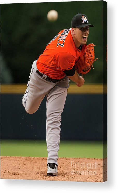 People Acrylic Print featuring the photograph Miami Marlins V Colorado Rockies by Justin Edmonds