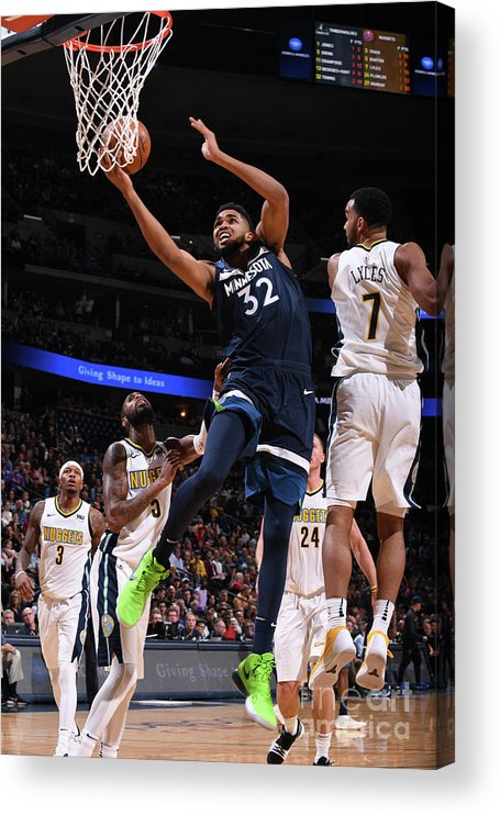 Nba Pro Basketball Acrylic Print featuring the photograph Minnesota Timberwolves V Denver Nuggets by Bart Young