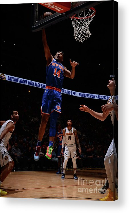 Nba Pro Basketball Acrylic Print featuring the photograph New York Knicks V Denver Nuggets by Bart Young