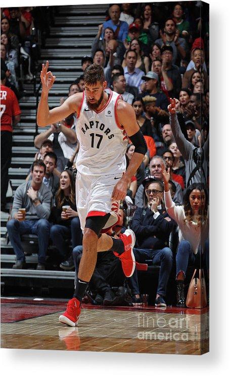 Nba Pro Basketball Acrylic Print featuring the photograph Philadelphia 76ers V Toronto Raptors by Mark Blinch