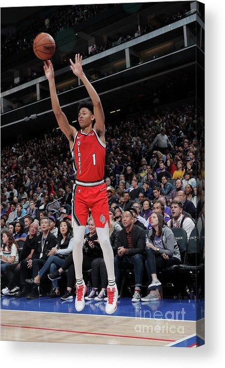 Nba Pro Basketball Acrylic Print featuring the photograph Portland Trail Blazers V Sacramento by Rocky Widner