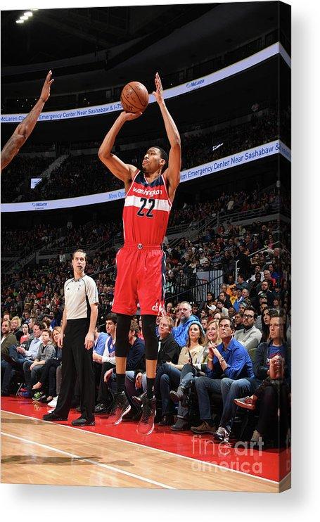 Nba Pro Basketball Acrylic Print featuring the photograph Washington Wizards V Detroit Pistons by Chris Schwegler