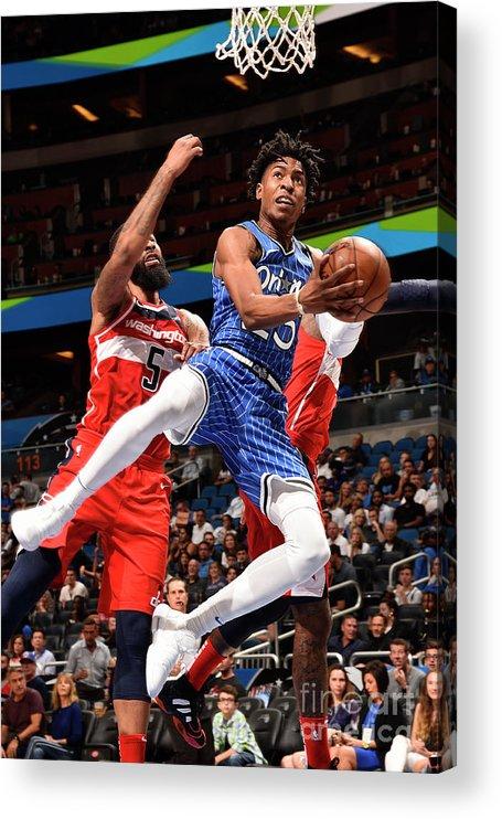 Nba Pro Basketball Acrylic Print featuring the photograph Washington Wizards V Orlando Magic by Gary Bassing