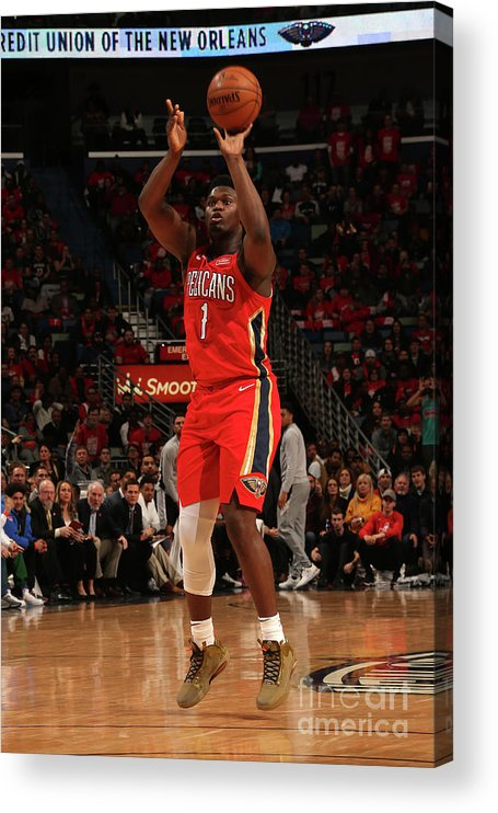 Smoothie King Center Acrylic Print featuring the photograph Zion Williamson by Layne Murdoch Jr.