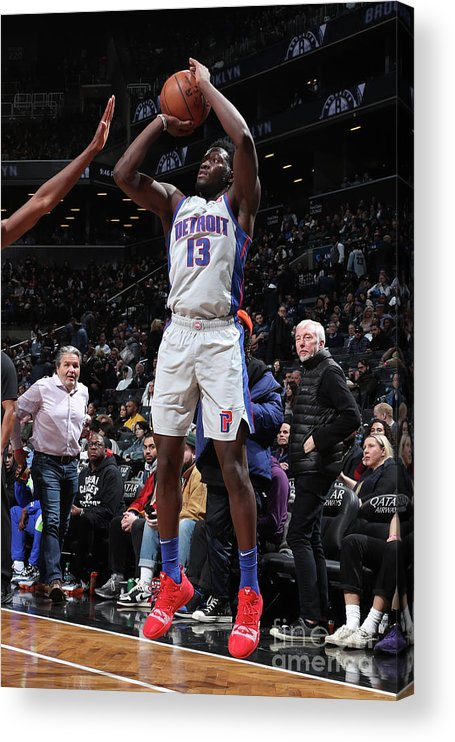 Nba Pro Basketball Acrylic Print featuring the photograph Detroit Pistons V Brooklyn Nets by Nathaniel S. Butler