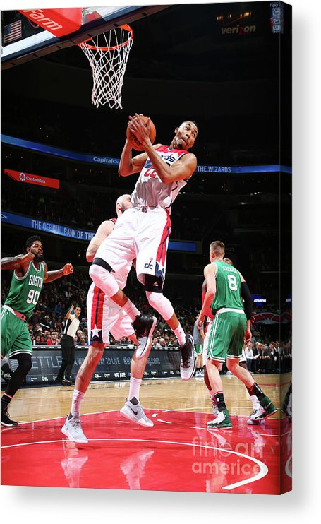 Nba Pro Basketball Acrylic Print featuring the photograph Boston Celtics V Washington Wizards by Ned Dishman