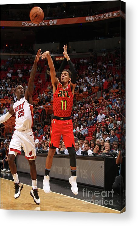 Nba Pro Basketball Acrylic Print featuring the photograph Atlanta Hawks V Miami Heat by Oscar Baldizon