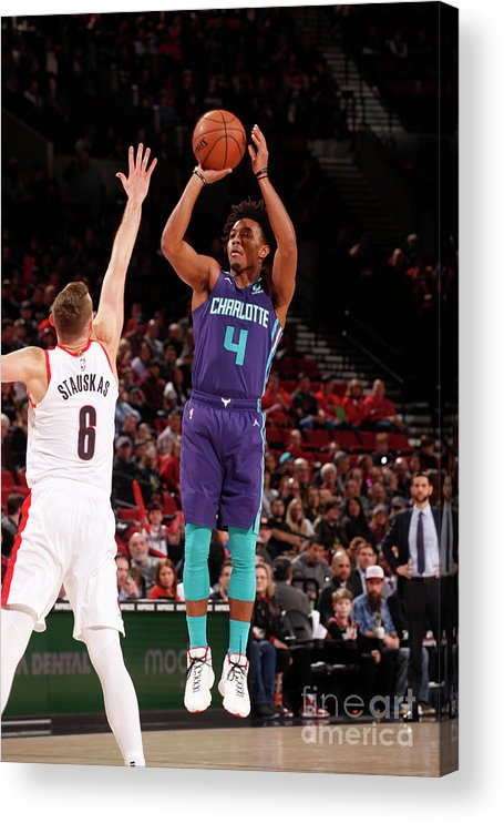 Nba Pro Basketball Acrylic Print featuring the photograph Charlotte Hornets V Portland Trail by Cameron Browne