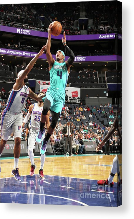 Nba Pro Basketball Acrylic Print featuring the photograph Detroit Pistons V Charlotte Hornets by Kent Smith