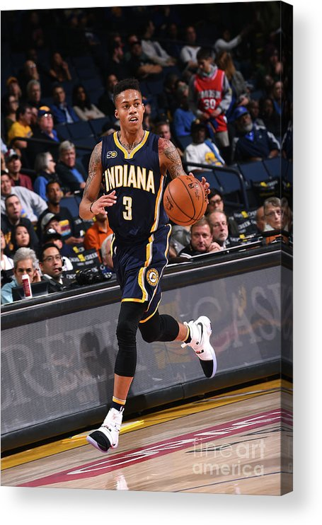 Nba Pro Basketball Acrylic Print featuring the photograph Indiana Pacers V Golden State Warriors by Noah Graham