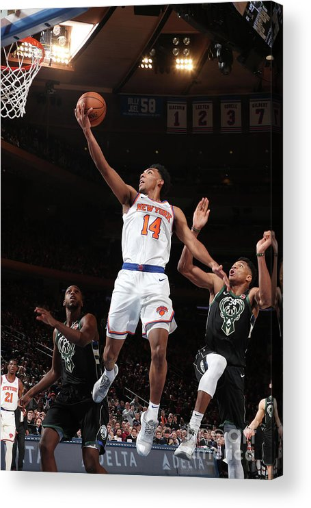 Nba Pro Basketball Acrylic Print featuring the photograph Milwaukee Bucks V New York Knicks by Nathaniel S. Butler