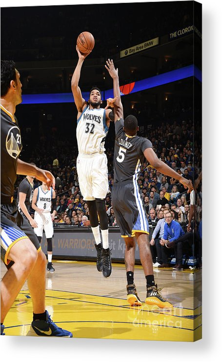 Nba Pro Basketball Acrylic Print featuring the photograph Minnesota Timberwolves V Golden State by Andrew D. Bernstein