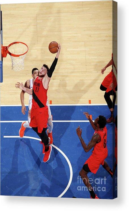 Jusuf Nurkić Acrylic Print featuring the photograph Portland Trail Blazers V New York Knicks by Nathaniel S. Butler