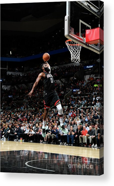 Nba Pro Basketball Acrylic Print featuring the photograph Houston Rockets V San Antonio Spurs by Logan Riely