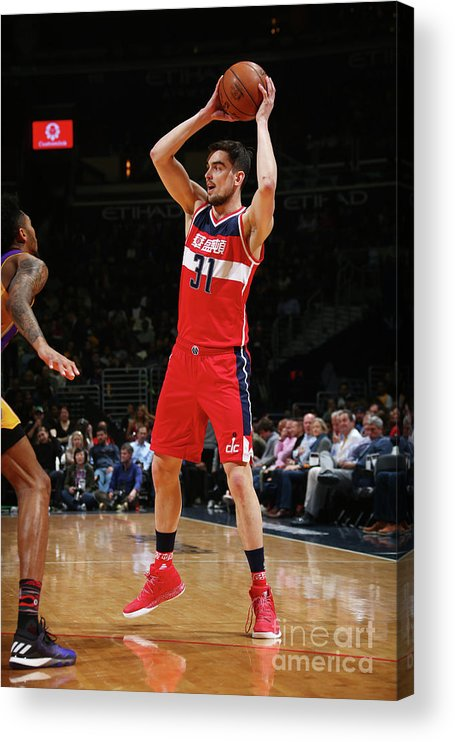Nba Pro Basketball Acrylic Print featuring the photograph Los Angeles Lakers V Washington Wizards by Ned Dishman