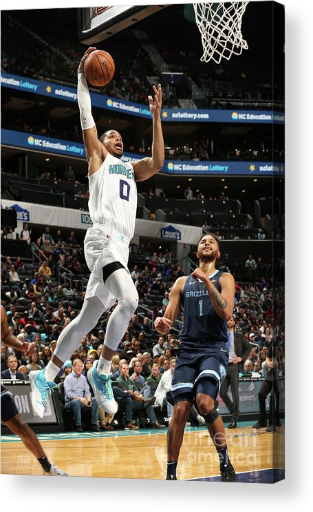 Nba Pro Basketball Acrylic Print featuring the photograph Memphis Grizzlies V Charlotte Hornets by Kent Smith