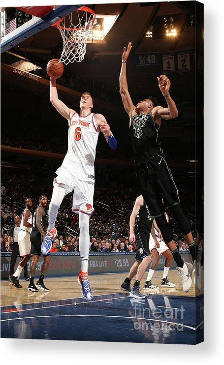 Nba Pro Basketball Acrylic Print featuring the photograph Milwaukee Bucks V New York Knicks by Ned Dishman