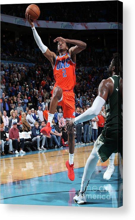 Nba Pro Basketball Acrylic Print featuring the photograph Milwaukee Bucks V Oklahoma City Thunder by Zach Beeker