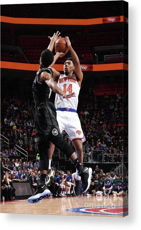 Nba Pro Basketball Acrylic Print featuring the photograph New York Knicks V Detroit Pistons by Chris Schwegler