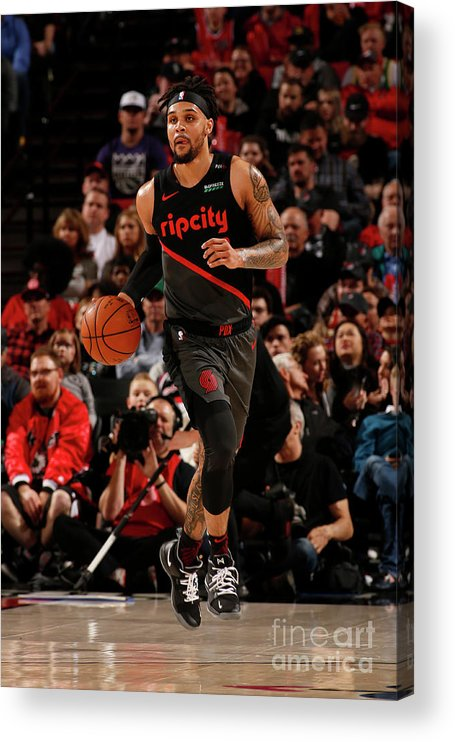 Nba Pro Basketball Acrylic Print featuring the photograph Sacramento Kings V Portland Trail by Cameron Browne