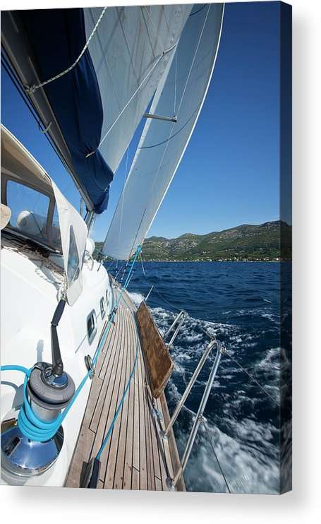 Curve Acrylic Print featuring the photograph Sailing In The Wind With Sailboat by Mbbirdy