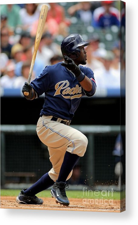 Tony Gwynn Jr. Acrylic Print featuring the photograph San Diego Padres V Colorado Rockies by Doug Pensinger
