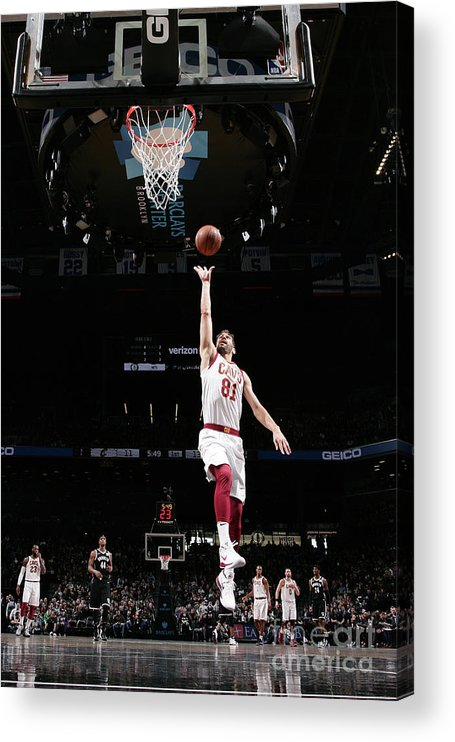 Nba Pro Basketball Acrylic Print featuring the photograph Cleveland Cavaliers V Brooklyn Nets by Nathaniel S. Butler