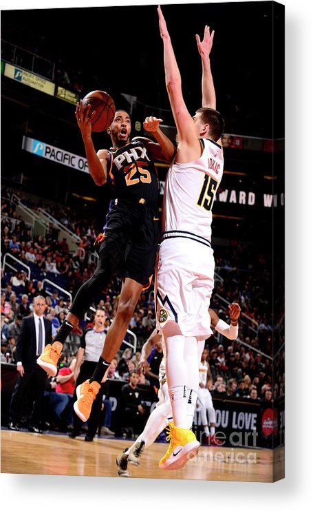 Nba Pro Basketball Acrylic Print featuring the photograph Denver Nuggets V Phoenix Suns by Barry Gossage