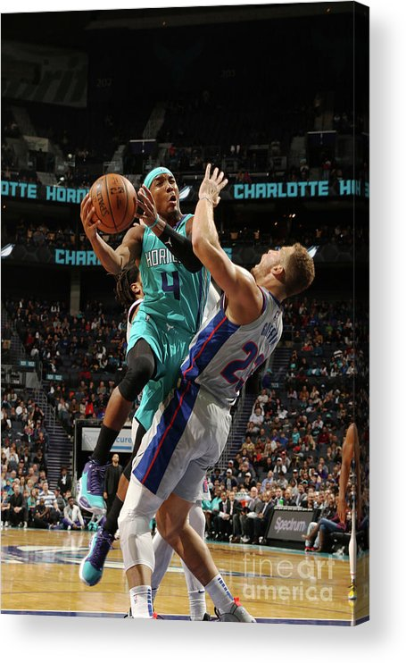 Nba Pro Basketball Acrylic Print featuring the photograph Detroit Pistons V Charlotte Hornets by Brock Williams-smith