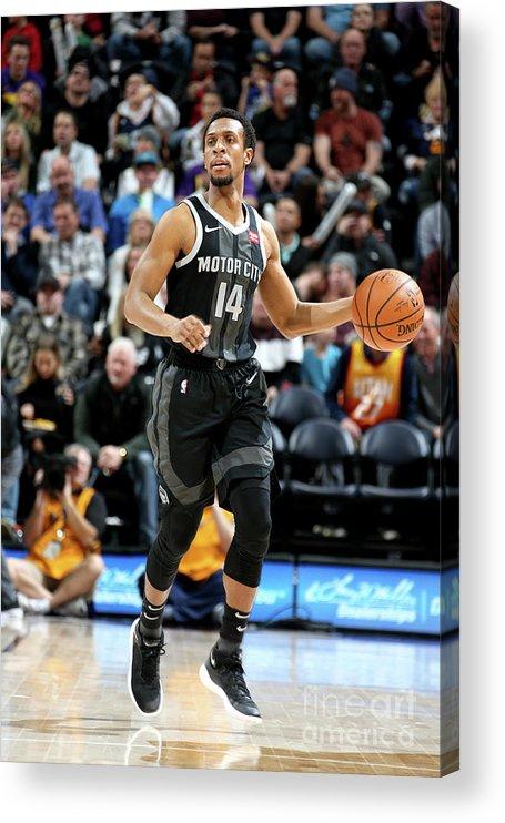 Nba Pro Basketball Acrylic Print featuring the photograph Detroit Pistons V Utah Jazz by Melissa Majchrzak